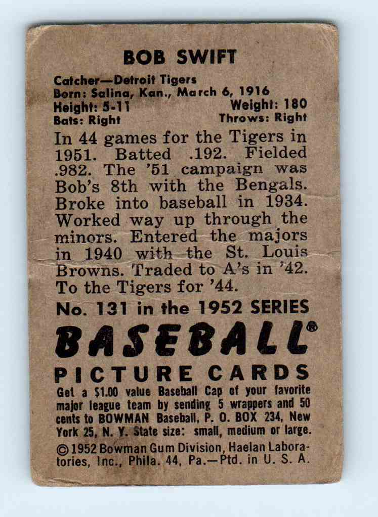 1952 Bowman Bob Swift #131 card back image