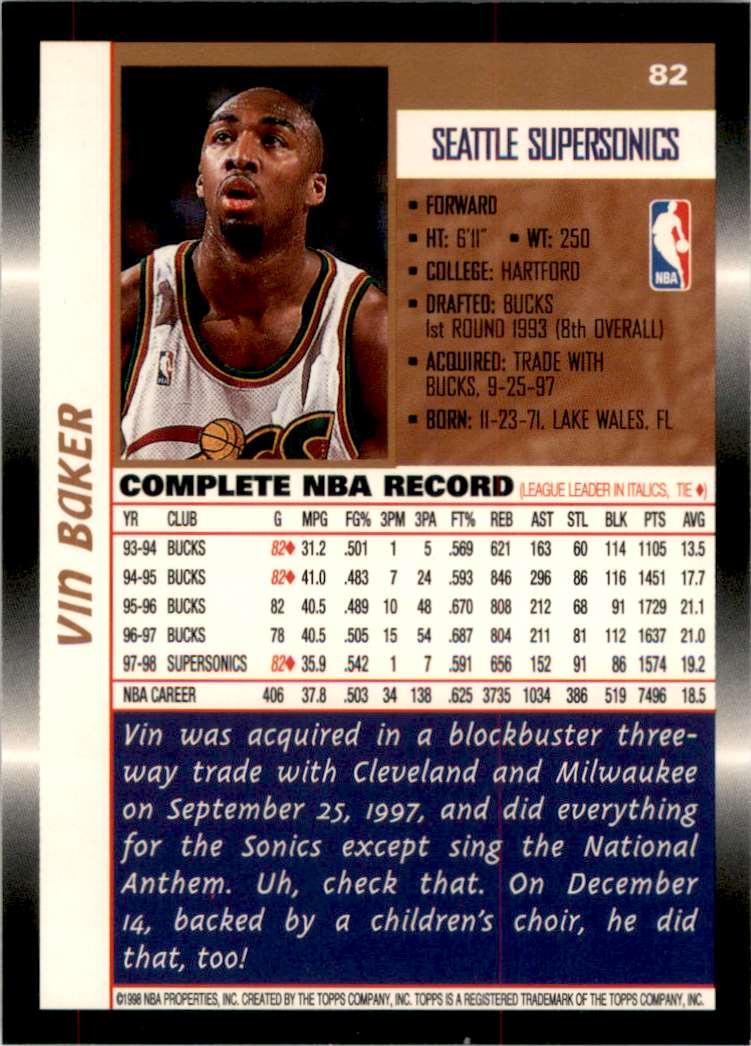 1998-99 Topps Vin Baker #82 card back image