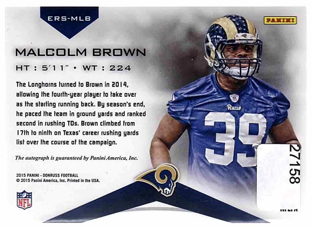 2015 Donruss Elite Inserts Rookie Signatures Malcolm Brown #ERS-MLB card back image