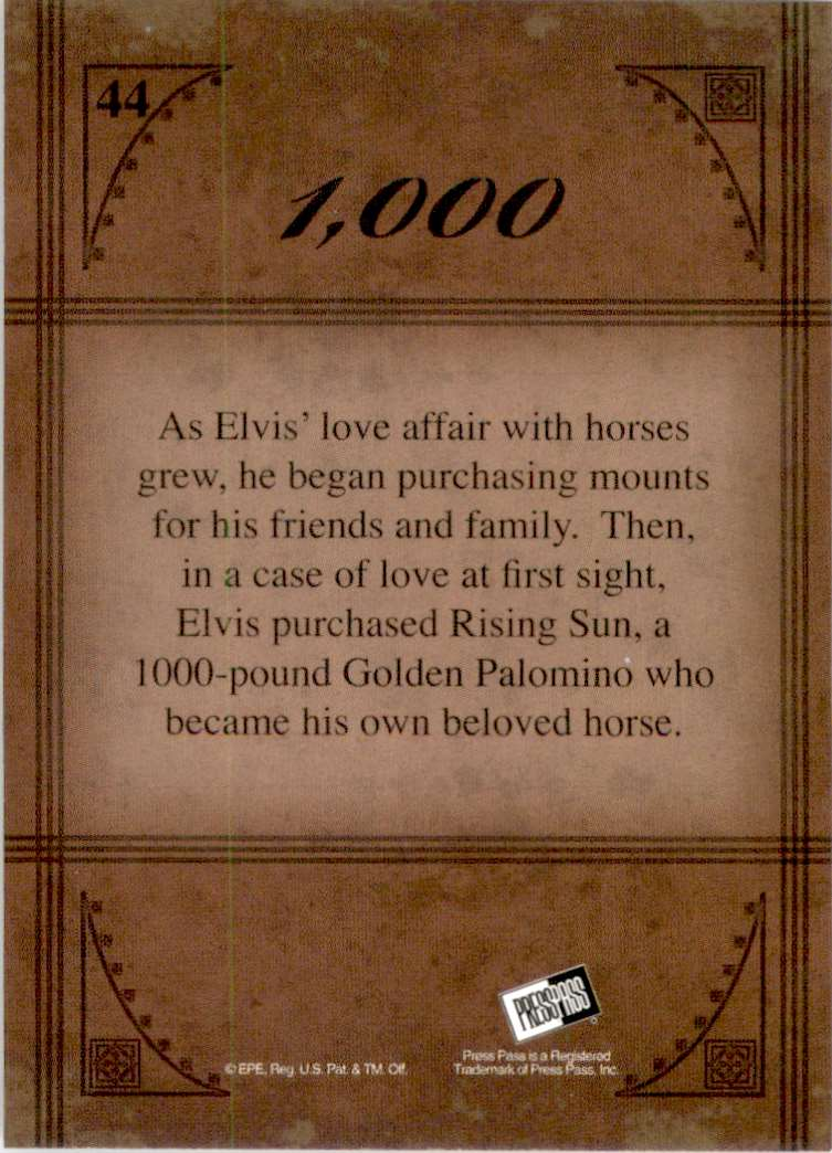 2008 Elvis By The Numbers 1,000 #44 card back image