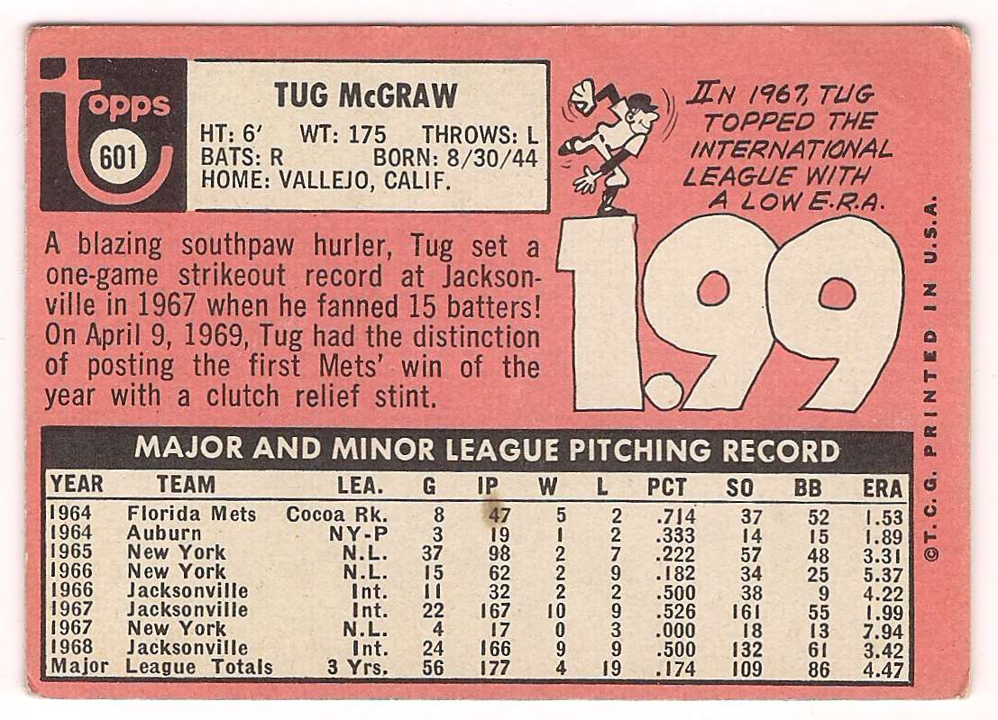 1969 Topps Tug McGraw #601 card back image