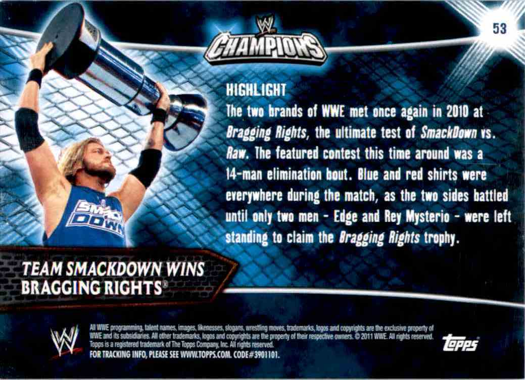 2011 Topps Wwe Champions Team SmackDown Wins Bragging Rights #53 card back image