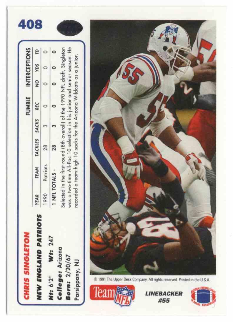 1991 Upper Deck Chris Singleton #408 card back image