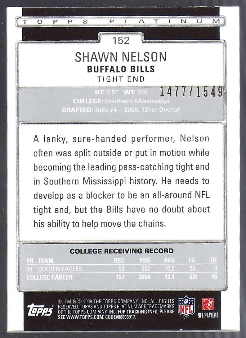 2009 Topps Platinum Rookie Platinum Refractors Shawn Nelson #152 card back image