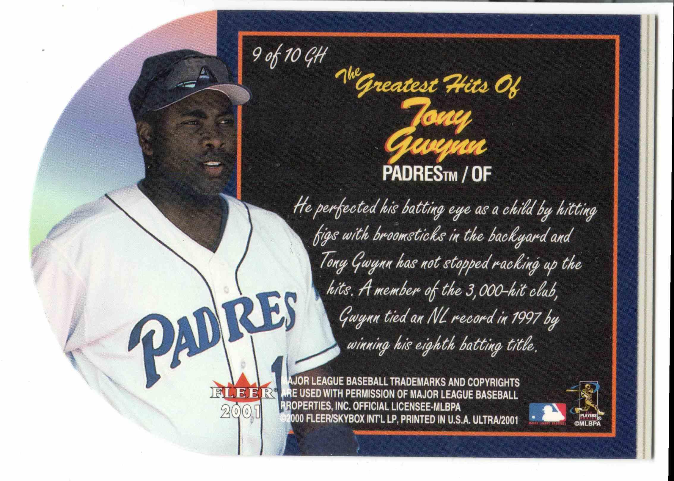 2001 Fleer Ultra Tony Gwynn #9 card back image