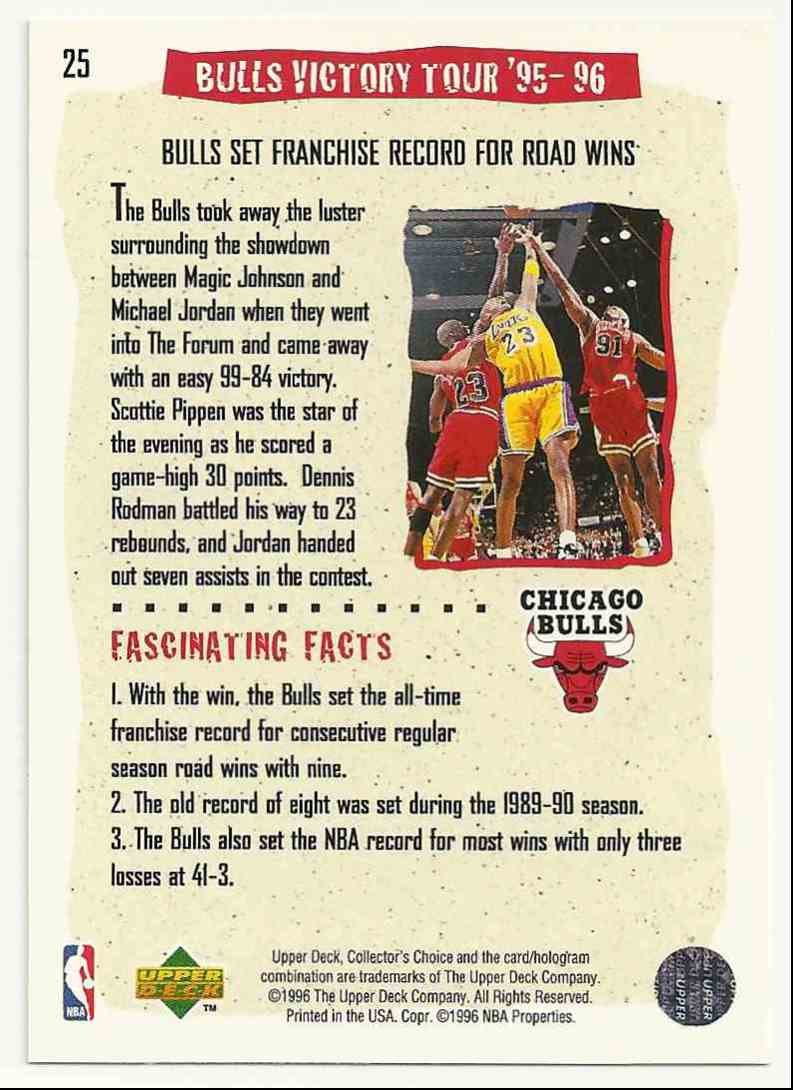 1996-97 Collector's Choice Michael Jordan #25 card back image