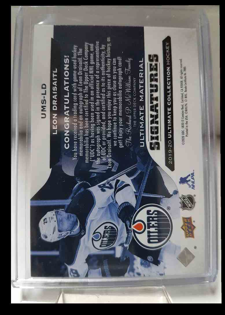 2019-20 Ultimate Collection Ultimate Material Signatures Leon Draisaitl #UMS-LD card back image