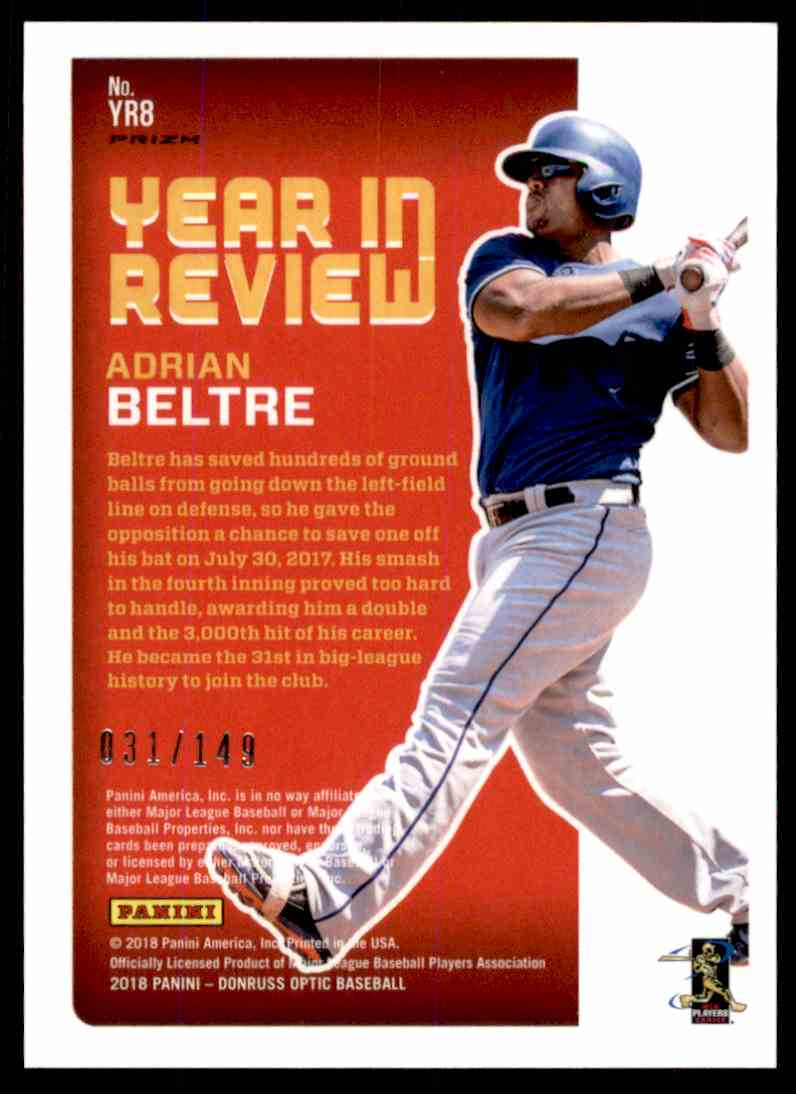 2018 Donruss Optic Blue Prizm Year In Review Adrian Beltre #YR8 card back image