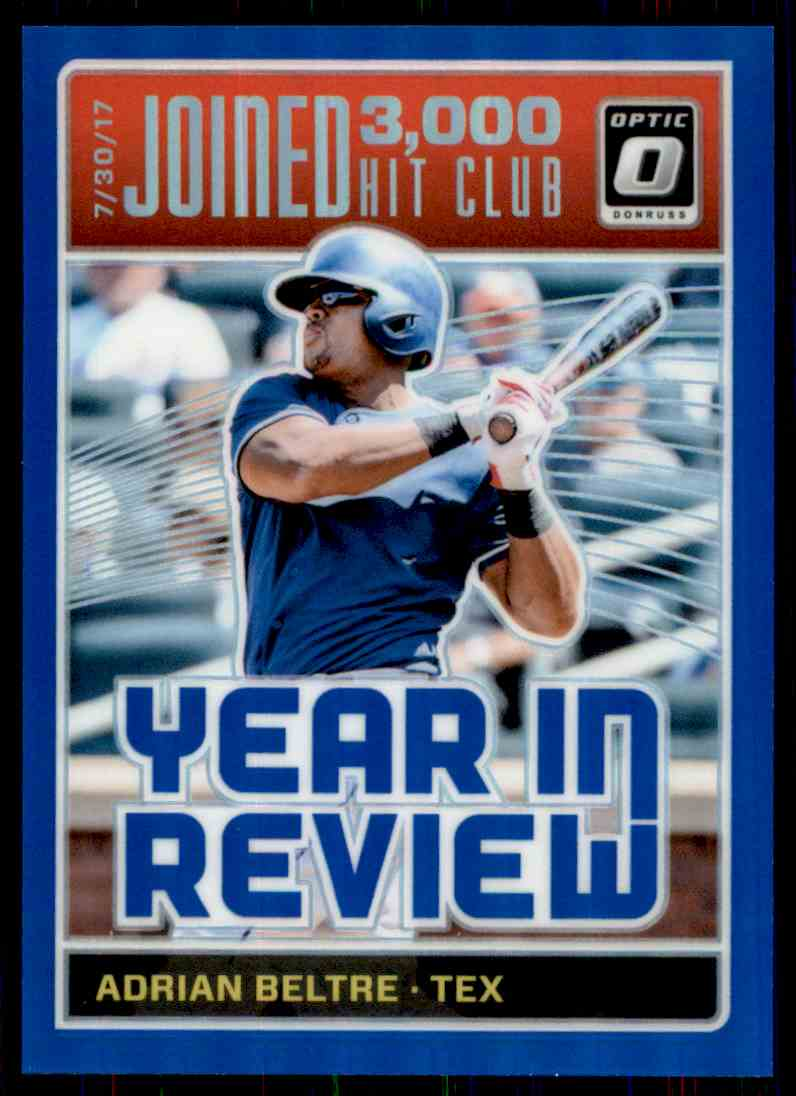 2018 Donruss Optic Blue Prizm Year In Review Adrian Beltre #YR8 card front image