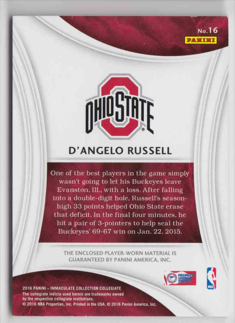 2016-17 Panini Immaculate Collegiate D'Angelo Russell #16 card back image