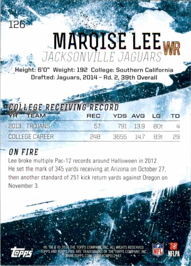 2014 Topps Fire Marqise Lee RC #126 card back image