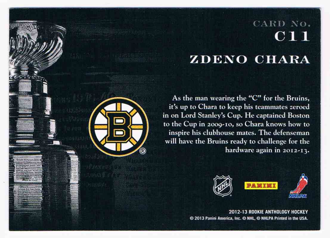 2012-13 Panini Contenders Cup Contenders Zdeno Chara #C11 card back image