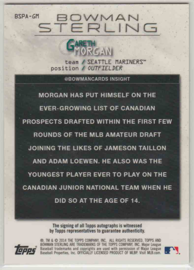 2014 Bowman Sterling Prospect Autographs Gareth Morgan #BSPA-GM card back image