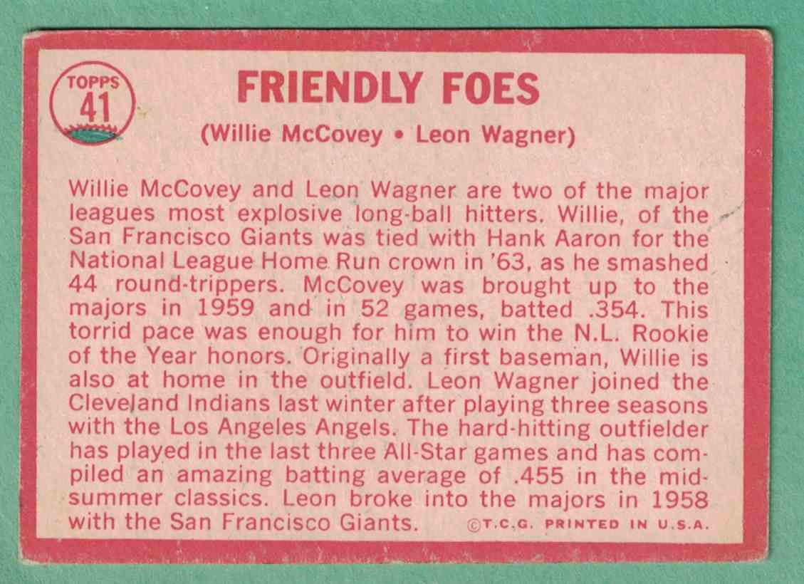 1964 Topps Willie McCovey VG-EX ink on back #41 card back image