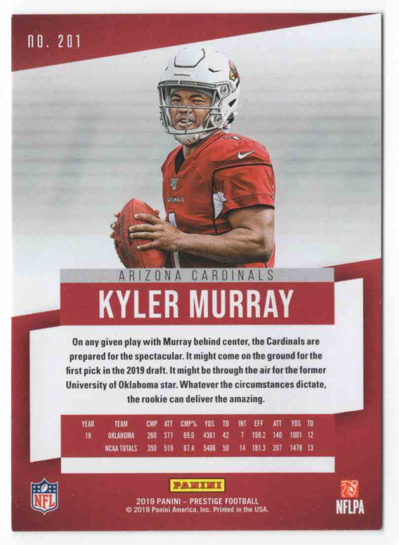 2019 Prestige Kyler Murray #201 card back image