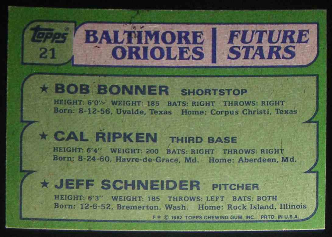 1982 Topps Baltimore Orioles Future Stars Cal Ripken JR. Bob Bonner Jeff Schneider #21 card back image