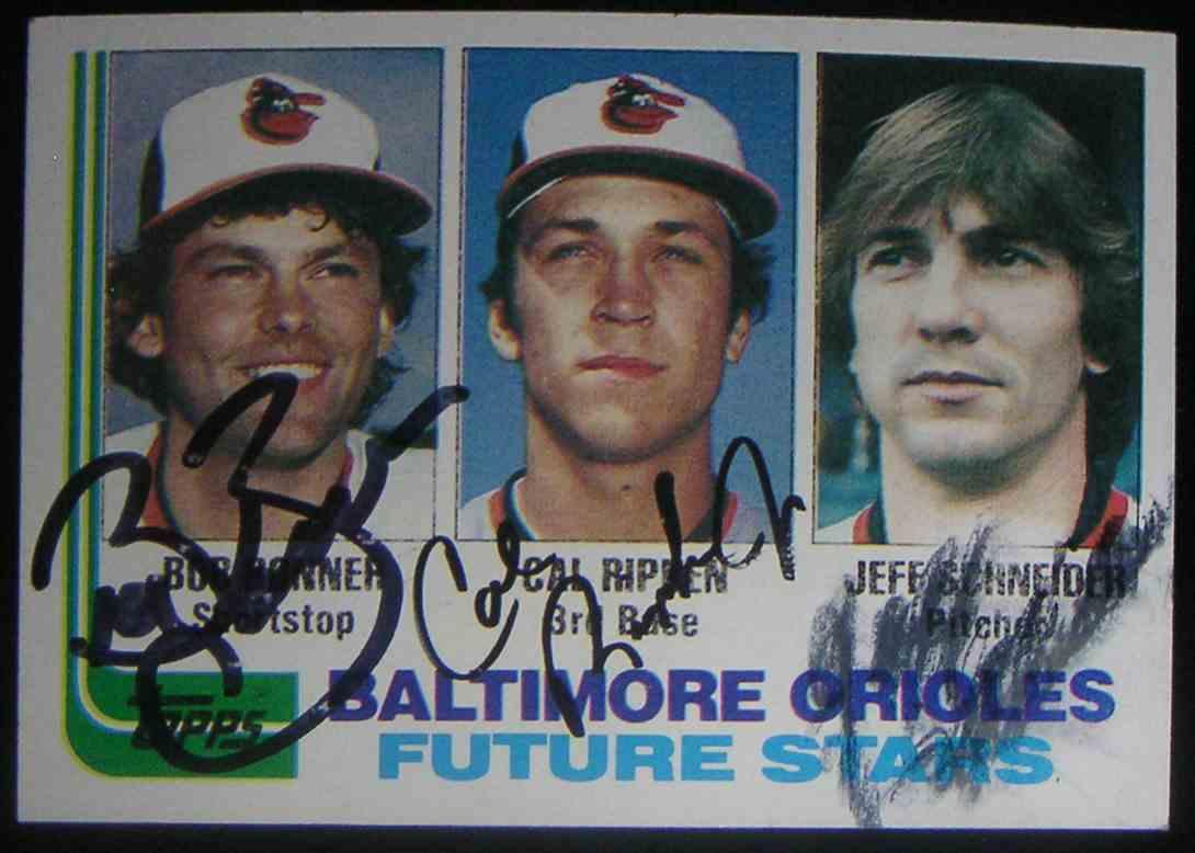 1982 Topps Baltimore Orioles Future Stars Cal Ripken JR. Bob Bonner Jeff Schneider #21 card front image