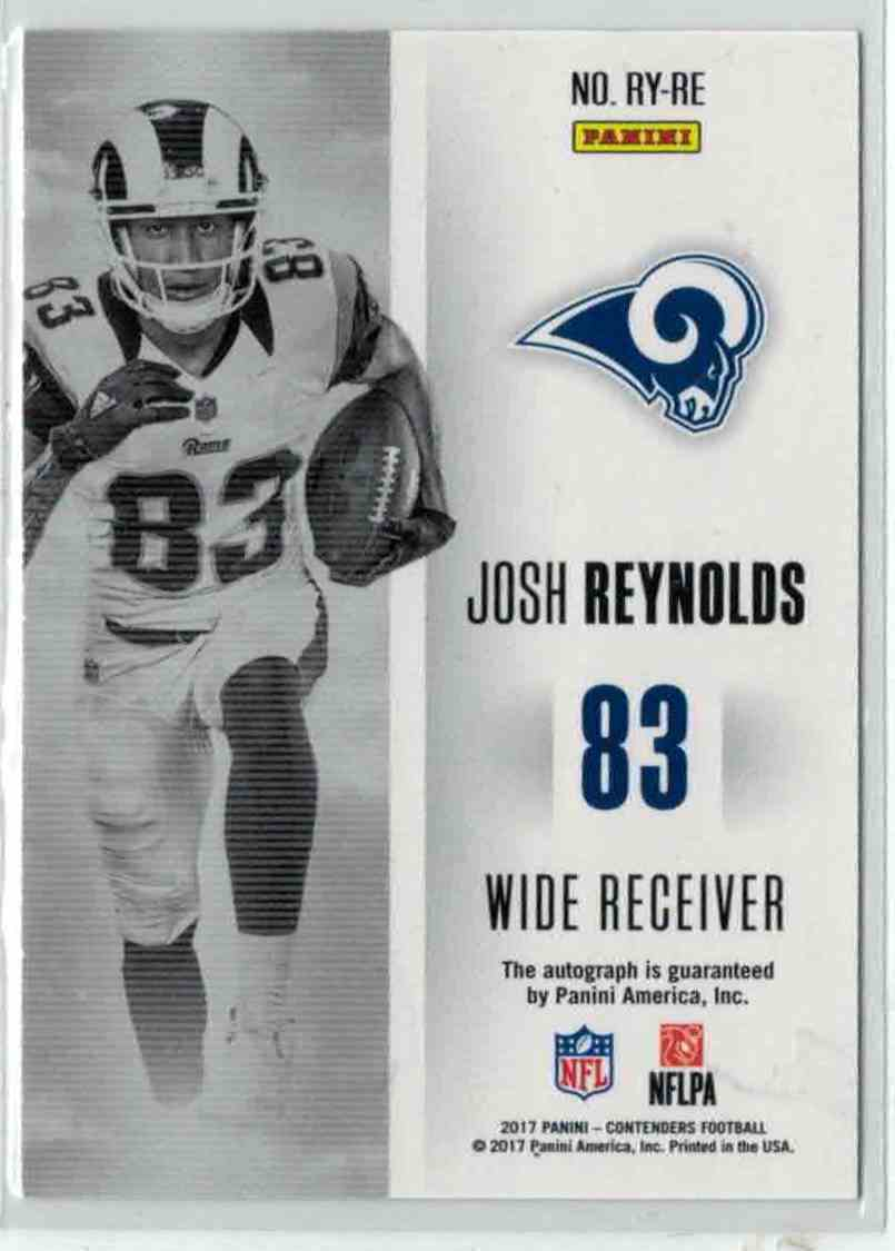 2017 Panini Contenders Rookie Of The Year Josh Reynolds #RY-RE card back image