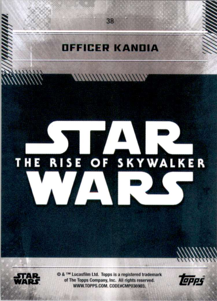 2019 Star Wars The Rise Of Skywalker Series One Officer Kandia #38 card back image
