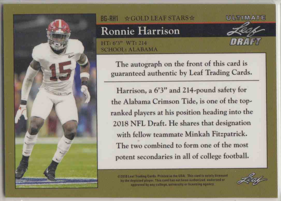 2018 Leaf Ultimate Draft 1992 Leaf Black Gold Autograph Ronnie Harrison #BG-RH1 card back image