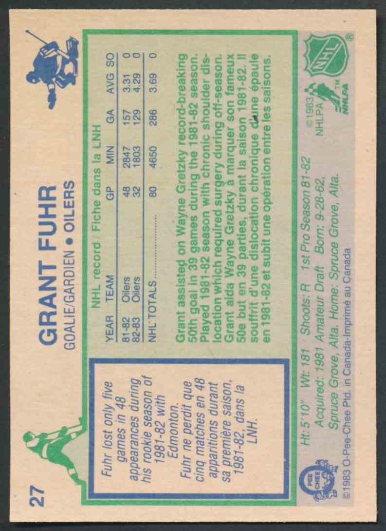 1983-84 O-Pee-Chee Grant Fuhr - Near Mint/Mint #27 card back image