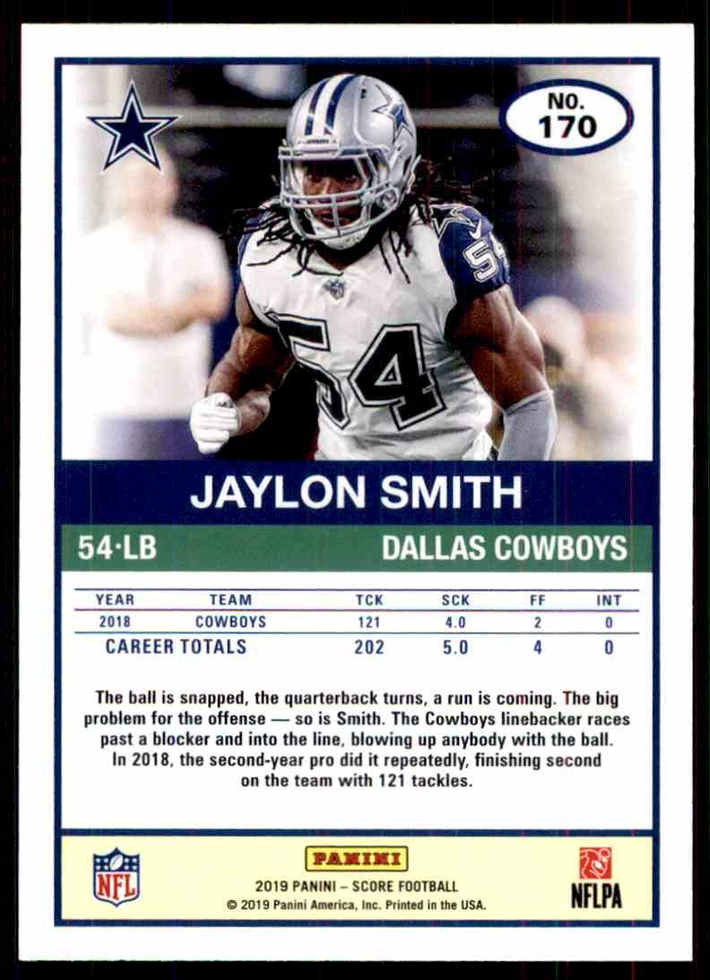 2019 Score Jaylon Smith #170 card back image