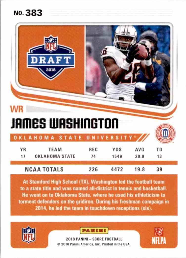 2018 Panini Score James Washington #383 card back image