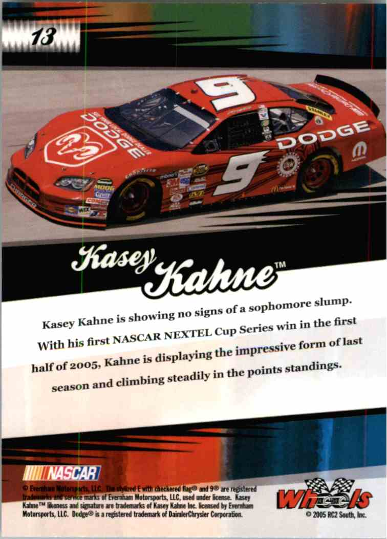 2005 Wheels American Thunder Kasey Kahne #13 card back image