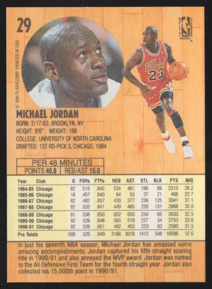 1991-92 Fleer Michael Jordan #29 card back image