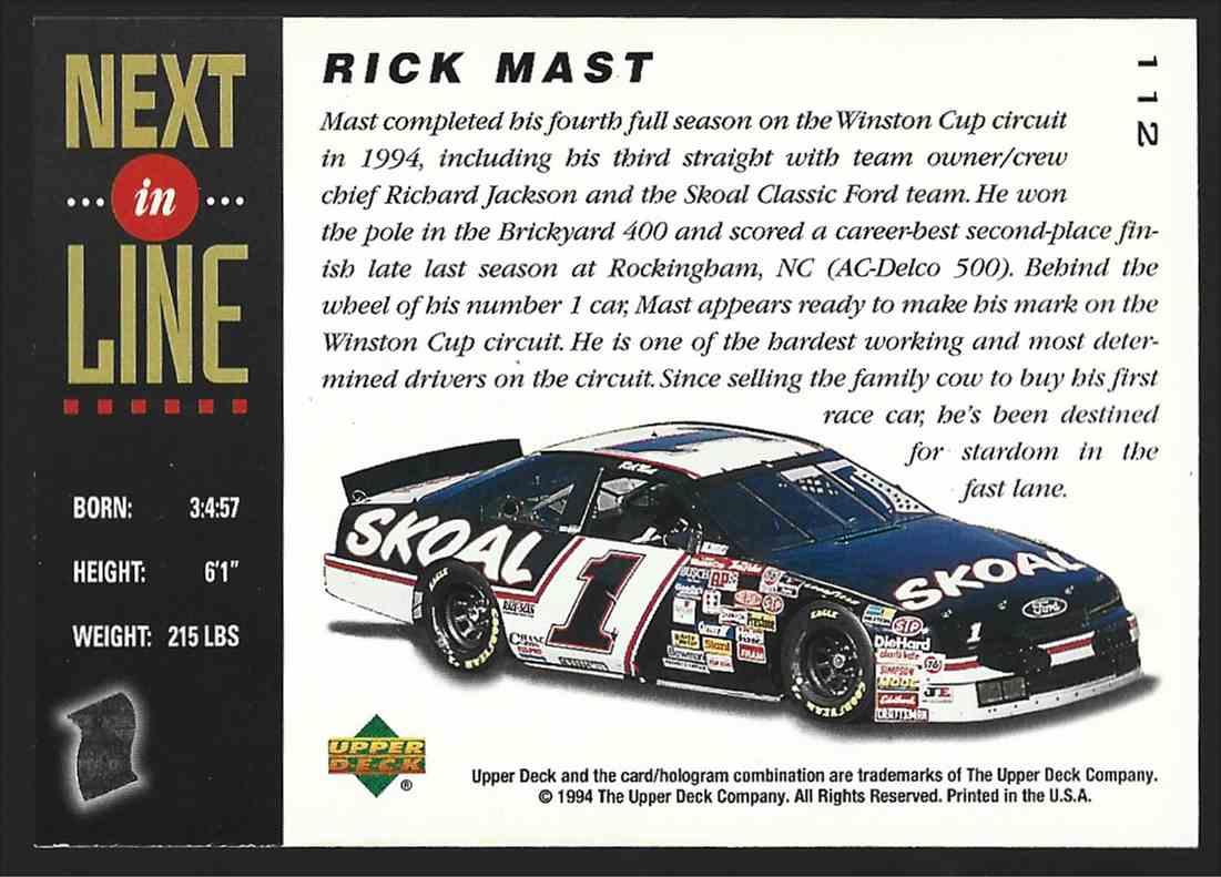 1994 Upper Deck Rick Mast #112 card back image