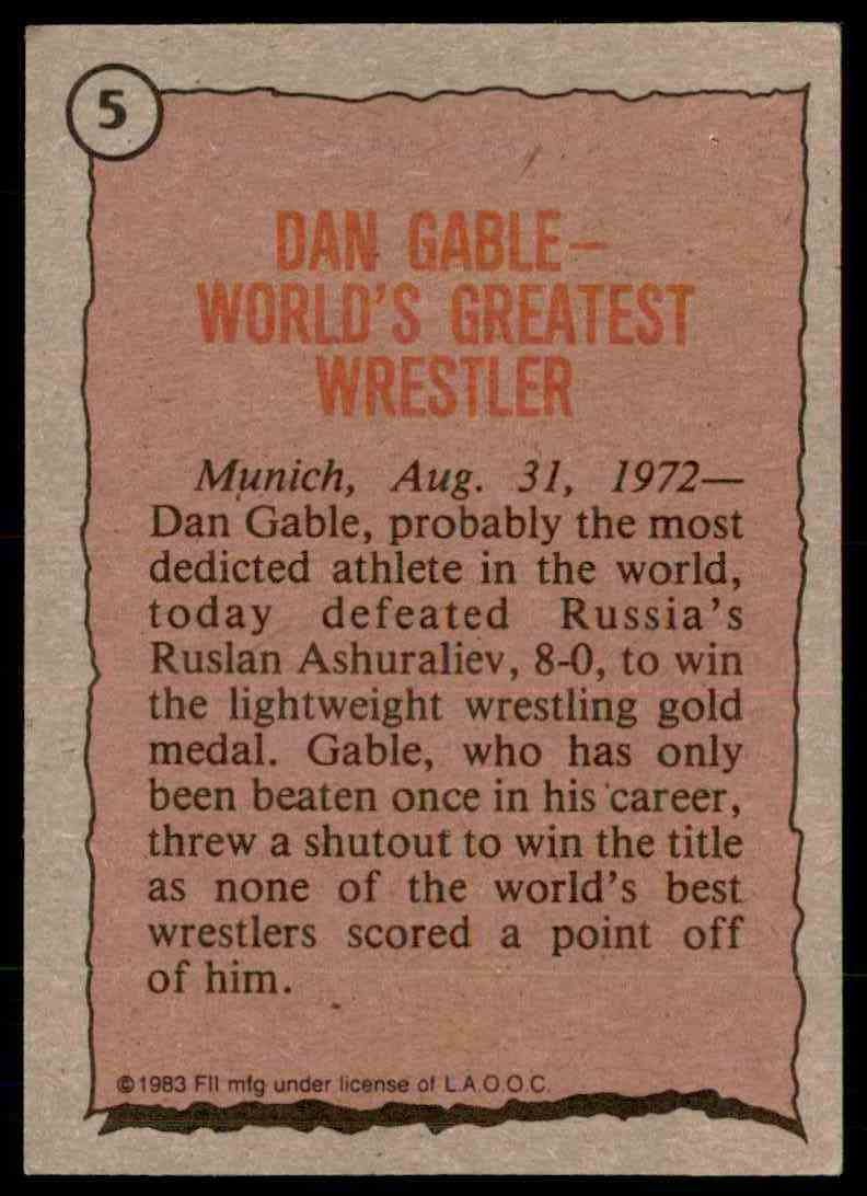 1983 Topps Greatest Olympians Dan Gable #5 card back image