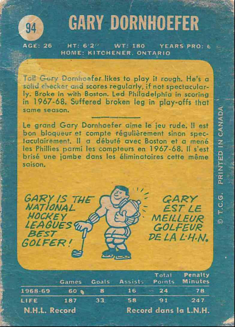 1969-70 O-Pee-Chee Gary Dornhoefer #94 card back image