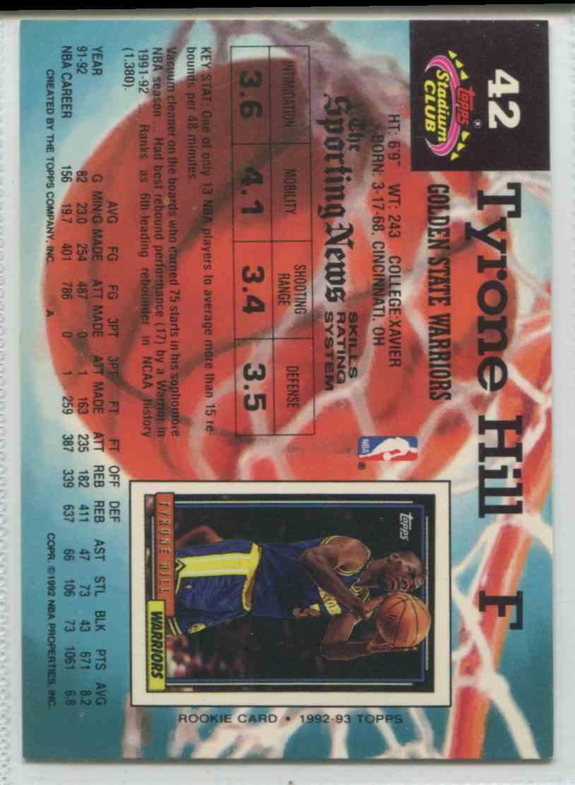 1992 93 Topps Stadium Club Tyrone Hill 42 on Kronozio