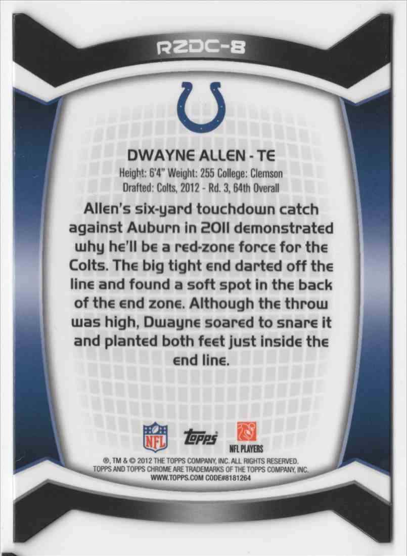 2012 Topps Chrome Red Zone Rookies Refractors Dwayne Allen #8 card back image