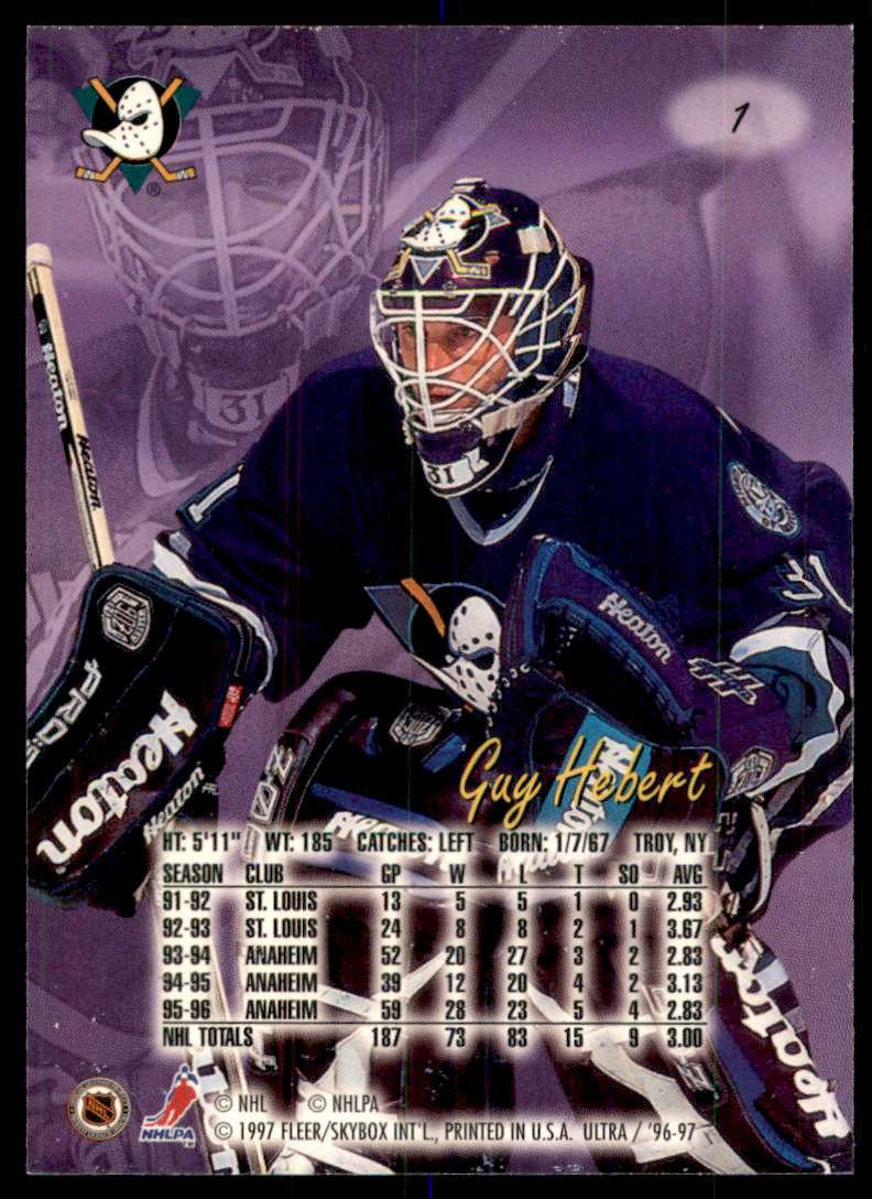 1996-97 Ultra Guy Hebert #1 card back image