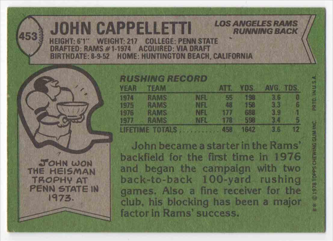 1978 Topps John Cappelletti #453 card back image