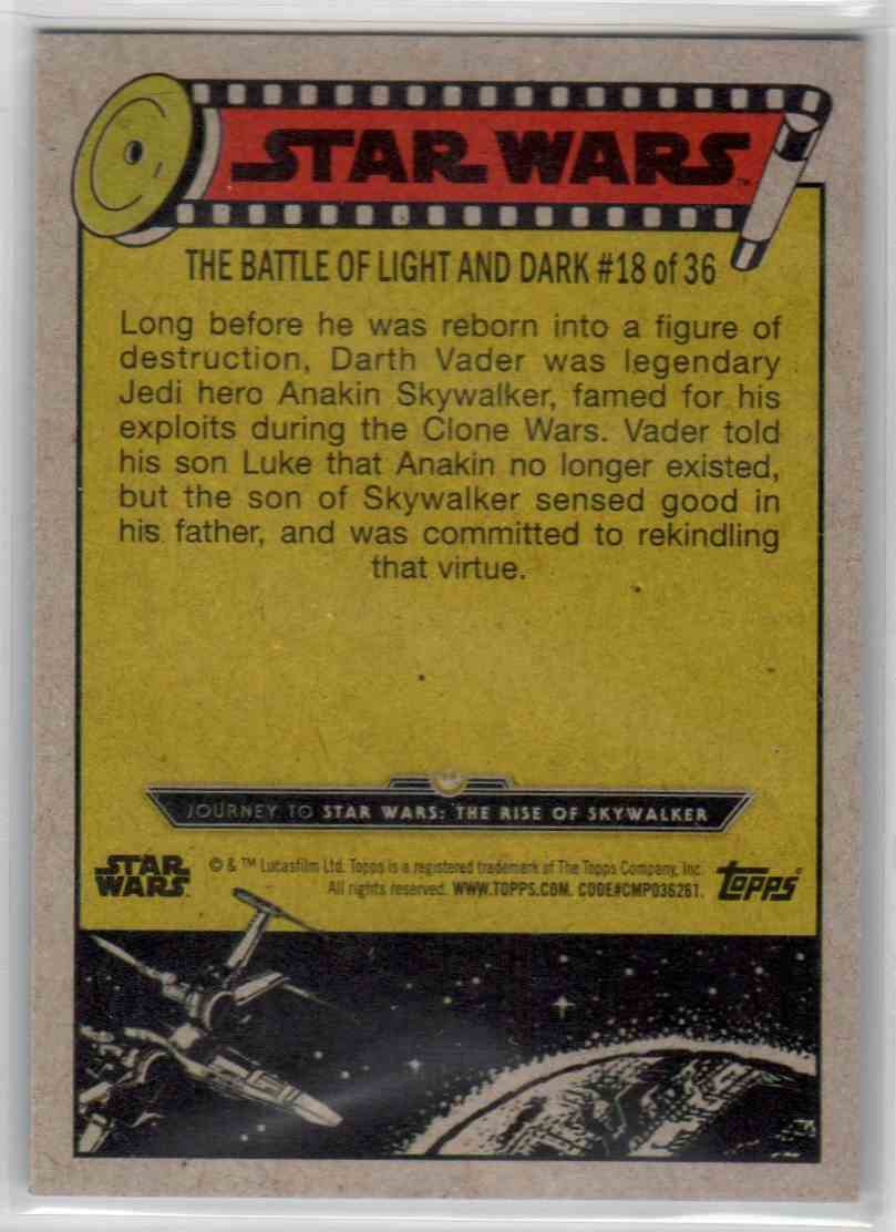 2019 Topps Star Wars Journey To Rise Of Skywalker Darth Vader's True Past #72 card back image