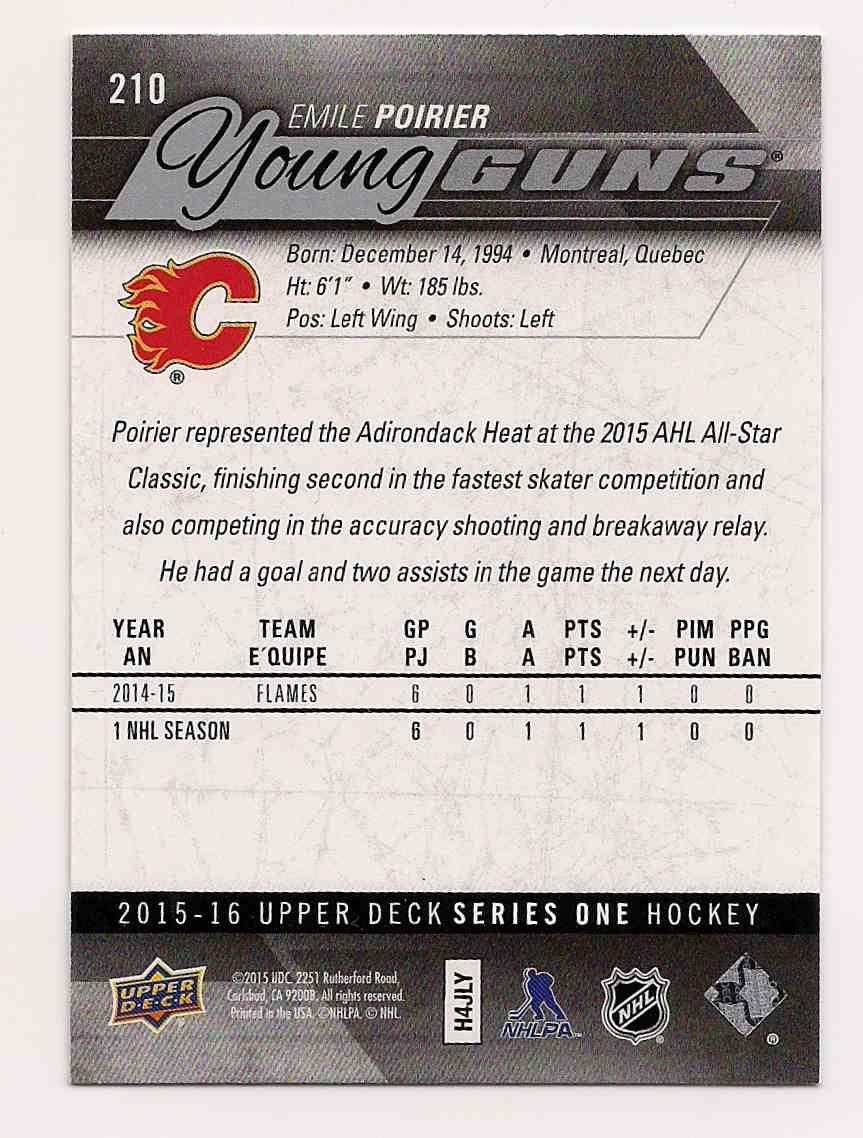 2015-16 Upper Deck Young Guns Emile Poirier #210 card back image