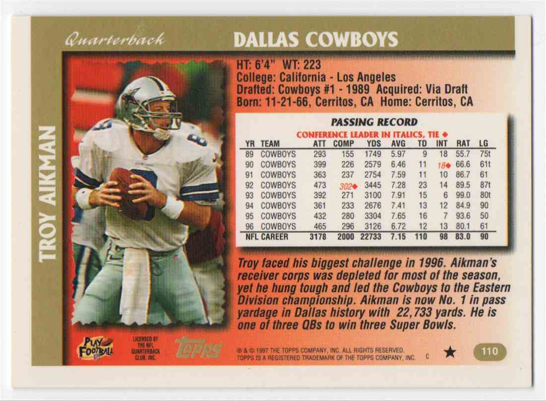 1997 Topps Troy Aikman #110 card back image