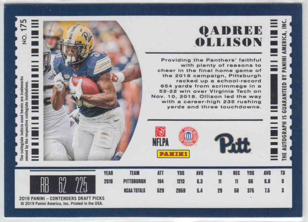 2019 Panini Contenders Draft Picks Rps College Ticket Autograph Qadree Ollison #175 card back image
