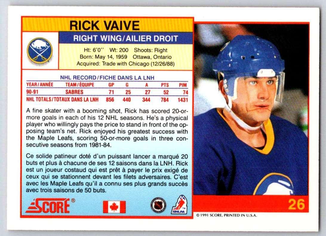 1991-92 Score Canadian Bilingual Rick Vaive #26 card back image