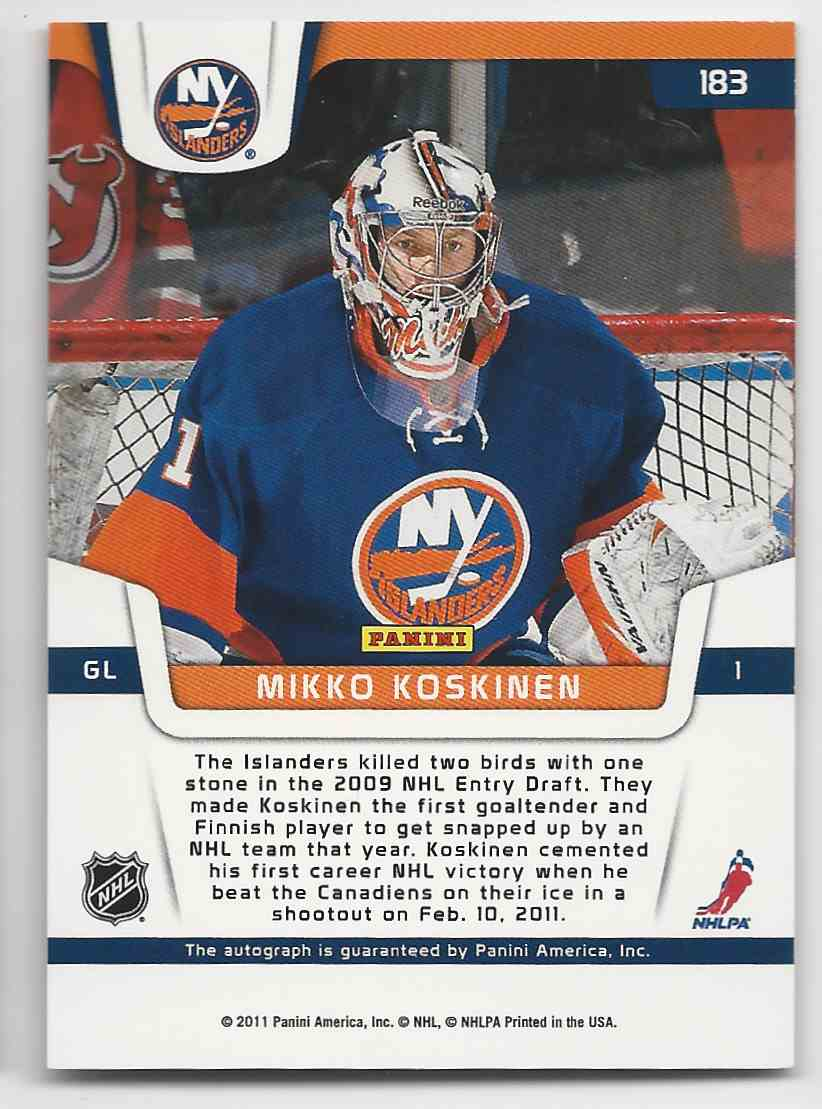 2011-12 Certified Mikko Koskinen #183 card back image