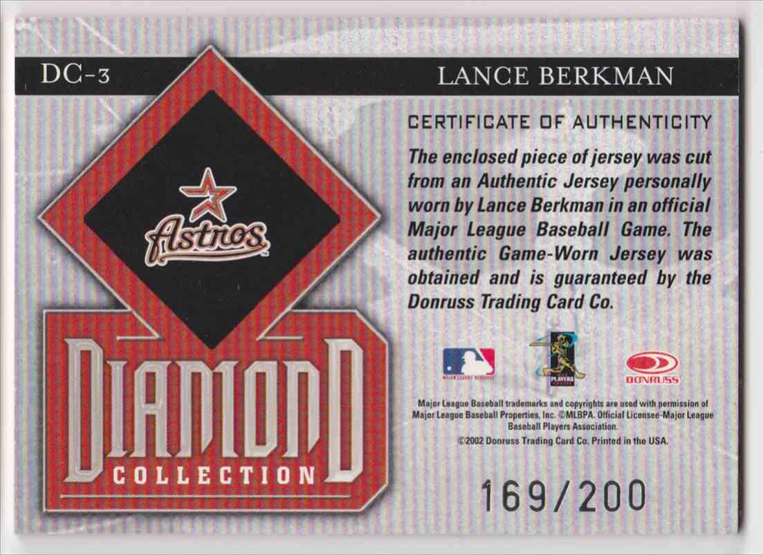 2002 Donruss Studio Diamond Collection Lance Berkman #DC-3 card back image