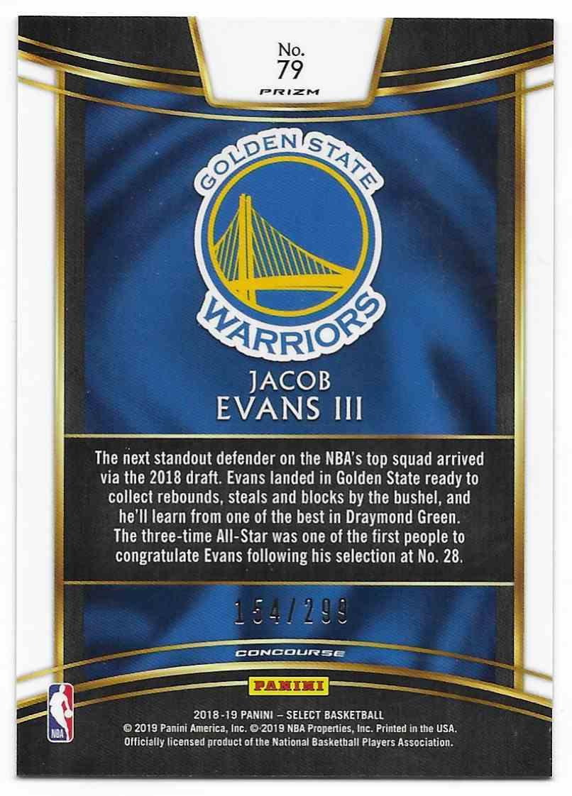 2018-19 Panini Select Light Blue Jacob Evans III #79 card back image