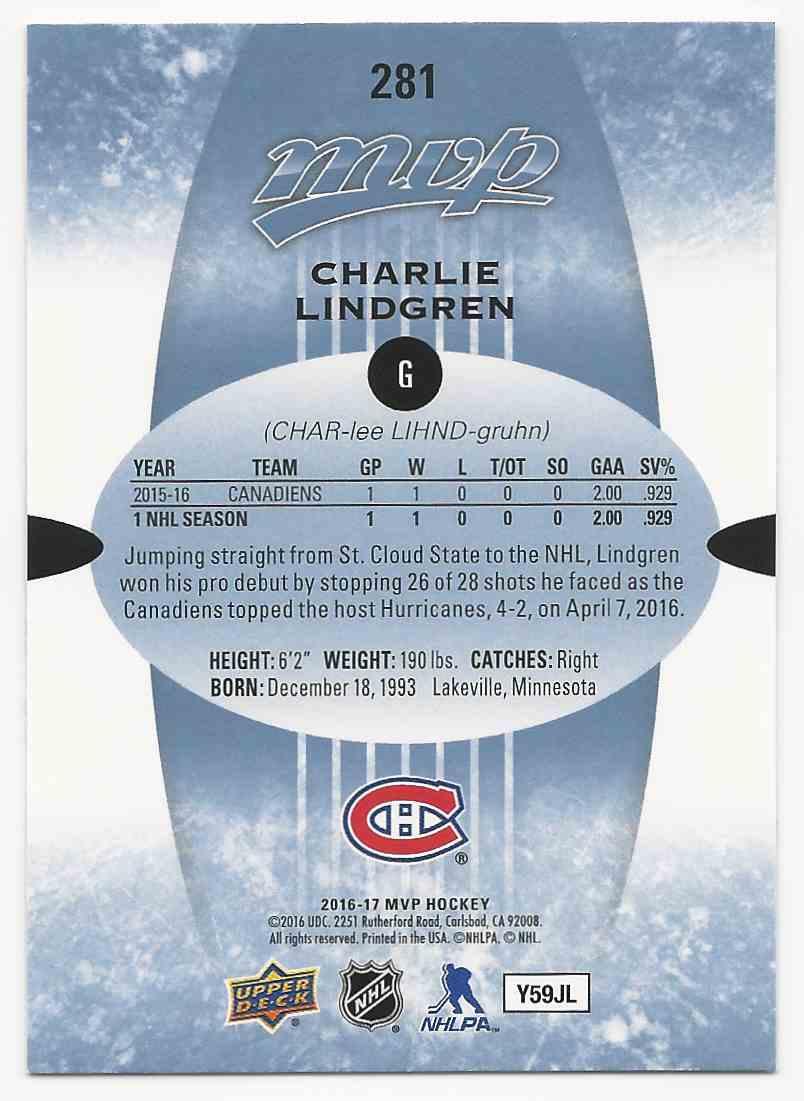 2016-17 Upper Deck MVP Charlie Lindgren #281 card back image
