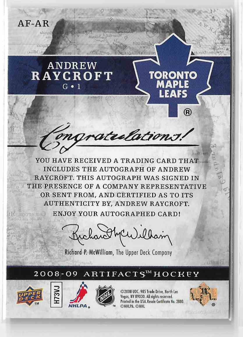 2008-09 Upper Deck Artifacts Autofacts Andrew Raycroft #AF-AR card back image
