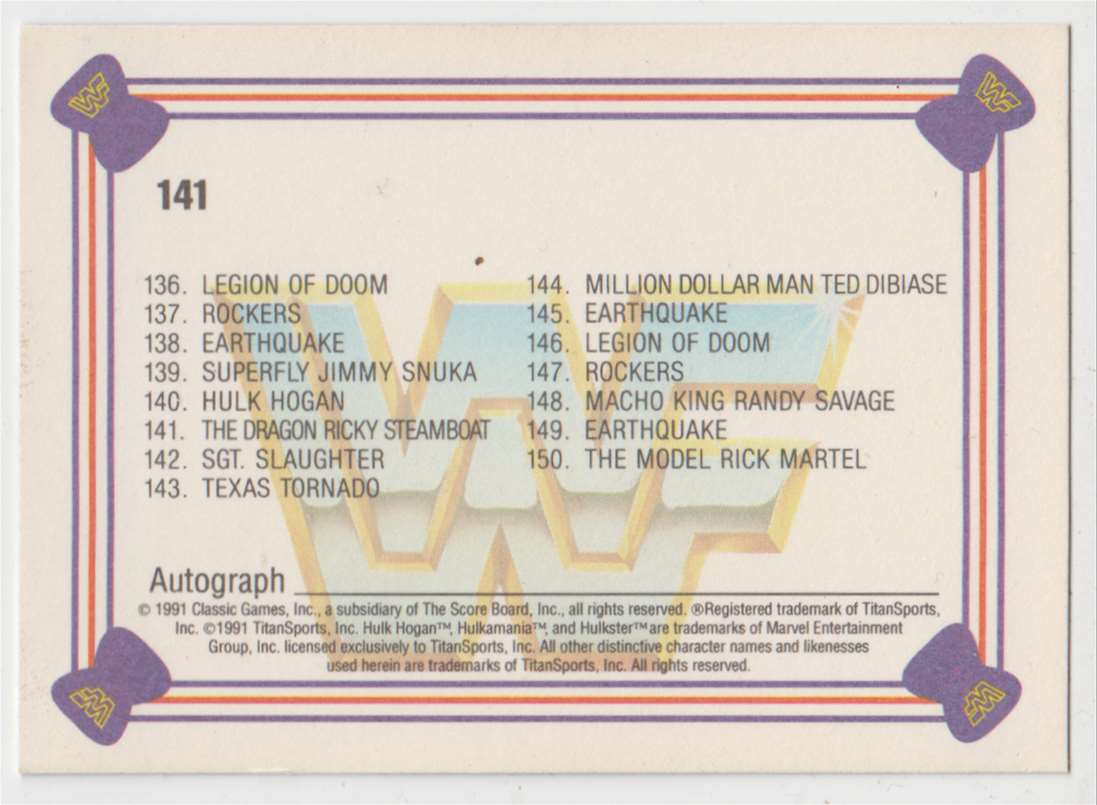 1991 Classic WWF Superstars The Dragon Ricky Steamboat #141 card back image