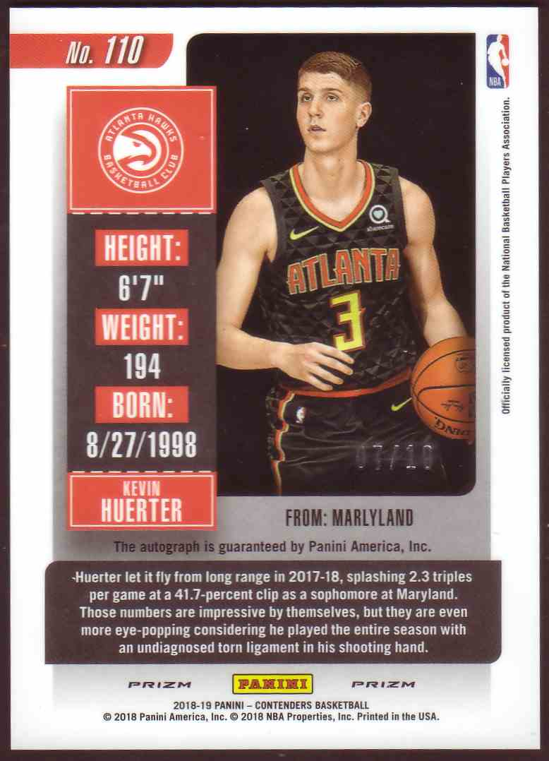 2018-19 Panini Contenders Rookie Ticket Variation Autograph Premium Gold Kevin Huerter #110 card back image