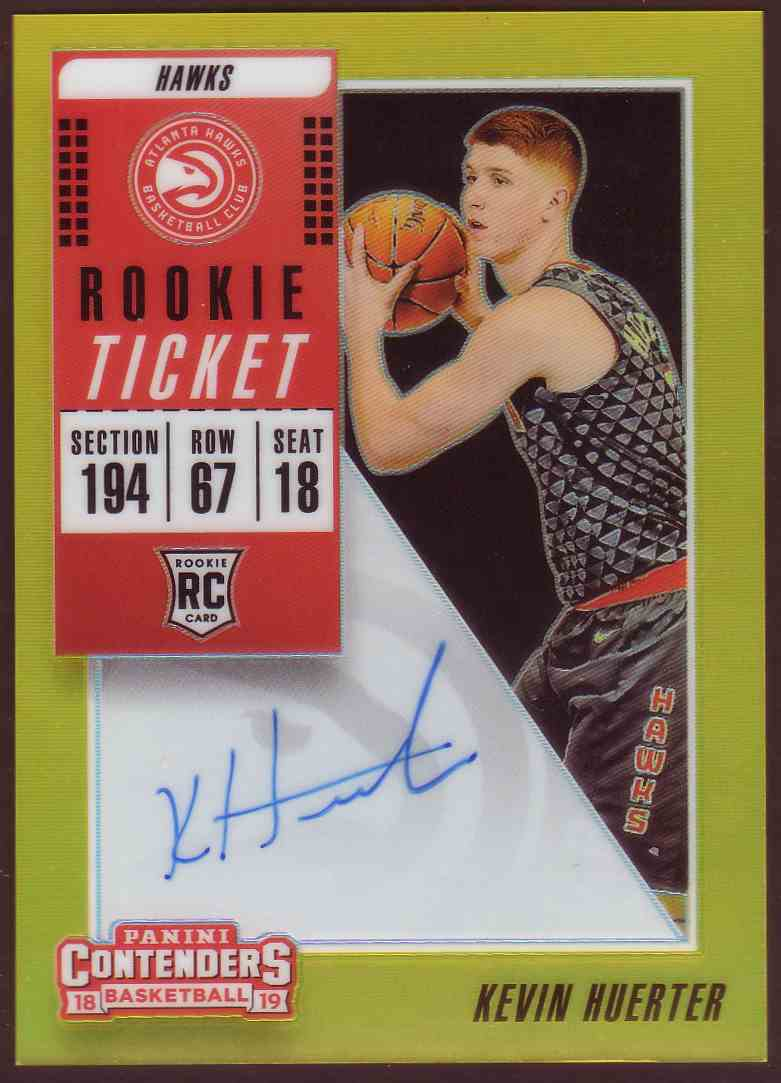 2018-19 Panini Contenders Rookie Ticket Variation Autograph Premium Gold Kevin Huerter #110 card front image