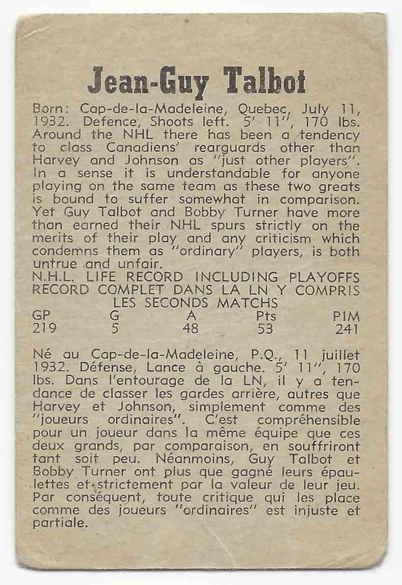 1958-59 Parkhurst Jean-Guy Talbot #41 card back image
